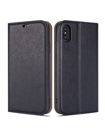 Genuine Leather Bookcase Samsung Galaxy S6 Black