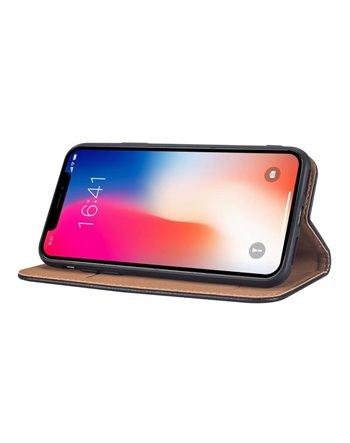 Genuine Leather Bookcase Samsung Galaxy S6 Edge Dark Brown